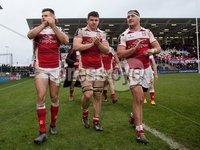 European Rugby Champions Cup Round 5, Kingspan Stadium, Belfast 13/1/2018. Ulster vs La Rochelle. Ulster\'s Jacob Stockdale, Nick Timoney and Rob Herring celebrate after the game. Mandatory Credit ©INPHO/Tommy Dickson