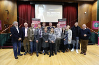 Press Eye - Belfast - Northern Ireland - 10th February 2019 - . Gerry Adams pictured with the Finucane family at the event at St Marys University College Belfast entitled Pat Finucane 30th Anniversary, A Community Reflects. The event was organised by Feile an Phobail.. Photo by Kelvin Boyes / Press Eye