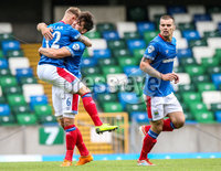 Danske Bank Premiership, Windsor Park, Belfast 10/8/2019. Linfield vs Institute. Linfield\'s Kirk Millar celebrates his goal . Mandatory Credit INPHO/John McVitty