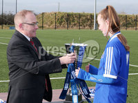 Press Eye - Belfast - Northern Ireland - 8th February 2018. IFA school girls football competition at Allen Park in Antrim.  . St Genevieve\'s, Belfast Vs Holy Cross, Strabane.. Holy Cross win and Danske Bank Antrim Branch manager Richard Laplsey presents captain Teegan Lynch with the trophy. . Picture by Jonathan Porter/PressEye