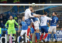 Danske Bank Premiership, Mourneview Park, Co. Armagh 3/4/2018 . Glenavon vs Linfield. Mandatory Credit ©INPHO/William Cherry. Glenavon\'s Simon Kelly with Linfield\'s Mark Stafford