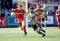12th May 2018. Europa league play off final between Cliftonville and Glentoran at Solitude in Belfast.. Cliftonville\'s Stephen Garrett  in action with Glentorans Curtis Allen. Mandatory Credit: Inpho/Stephen Hamilton
