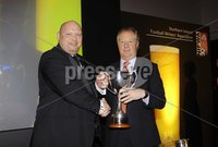 Press Eye - Belfast - Northern Ireland - 7th May 2012 . The Carling 2012 Northern Ireland Football Writers Association Football Awards at the Europa Hotel Belfast. CARLING MANAGER OF THE YEAR 2011-12. Carling Manager of the Year  David Jeffrey (Linfield) with Jimmy Nicholl.. Picture by Kelvin Boyes / Press Eye