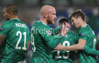 Press Eye-Belfast-Northern Ireland -18th November 2020. National Football Stadium at Windsor Park, Belfast. . 18/11/2020. Northern Ireland  Liam Boyce celebrates  scoring  the opening goal against  Romania    during Wednesday   night\'s UEFA Nations League match at the National Football Stadium at Windsor Park,Belfast.. Mandatory Credit PressEye