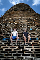 Press Eye - Belfast -  Northern Ireland - 10th July 2018 - Photo by William Cherry/Presseye. Young men who helped to build the Ballymacash bonfire in Lisburn before the \'Eleventh Night\' celebrations.