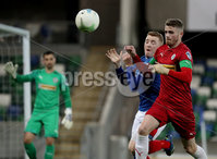 Press Eye - Belfast, Northern Ireland - 29th October 2019 - Photo by William Cherry/Presseye. Linfield\'s Shayne Lavery with Cliftonville\'s Rory Donnelly during Tuesday nights BetMcLean League Cup game at Windsor Park, Belfast.     Photo by William Cherry/Presseye