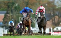 Press Eye - Belfast - Northern Ireland - 1st November 2019 - . Down Royal Racecourse - November Festival Day 1 - Friday . Race 2 - 1:10 LOUGH CONSTRUCTION LTD. IRISH EBF MARES NOVICE HURDLE . Daylight Katie, right, ridden by Davy Russell beats Jeremys Flame to win the 2nd race at Down Royal . Photo by Kelvin Boyes / Press Eye.. .