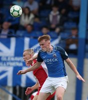 Danske Bank Premiership, Mourneview Park, Lurgan 4/8/2018. Glenavon FC vs  Linfield FC. Glenavon\'s Caolan Marron    and  Michael O\'Connor  of Linfield.. Mandatory Credit @INPHO/Brian Little.