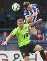Danske Bank Premiership, Showgrounds, Coleraine 4/8/2018. Coleraine vs Warrenpoint. Coleraine\'s Josh Carson and Warrenpoint\'s Ciaran O\'Connor. Mandatory Credit ©INPHO/Lorcan Doherty