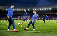 Press Eye - Belfast, Northern Ireland - 09th October 2019 - Photo by William Cherry/Presseye. Northern Ireland\'s Paddy McNair, George Saville and Shane Ferguson during Wednesday nights training session at Stadium Feijenoord ahead of Thursday nights UEFA Euro 2020 Qualifier against Netherlands in Rotterdam. Photo by William Cherry/Presseye
