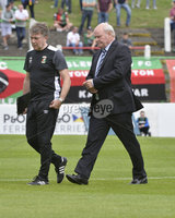 4th August 2018. Danske Bank Irish premier league match between Glentoran and Cliftonville at The Oval in Belfast.. Glentorans management team Kieran Harding and Ronnie McFall.  Mandatory Credit: Stephen Hamilton /Inpho