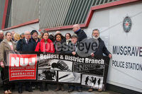 Press Eye - Belfast - Northern Ireland - 30th November 2018. The NUJ holds a protest outside PSNI Mugrave Street Station station in support of The Detail journalists Barry McCaffrey and Trevor Birney.  They were attending the station for further questioning after they were recently arrested regarding allegedly stolen information which appeared in the documentary \'No Stone Unturned\'.  The documentary told the story of the murder of six men by the UVF in a pub in Loughinisland, Co. Down. . . Picture by Jonathan Porter/PressEye