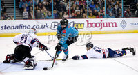 Press Eye - Belfast -  Northern Ireland -16th November 2019 - Photo by Darren Kidd/Presseye . Belfast Giants\' Ben Lake with Dundee Stars\' Alex Leclerc during Saturday nights Elite Ice Hockey League game at the SSE Arena, Belfast.    Photo by Darren Kidd/Presseye