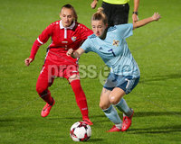 Press Eye - Belfast - Northern Ireland - 5th October 2019. European Women\'s U19 Championship 2020 Qualifying Round - Ballymena Showgrounds.  Northern Ireland Vs Moldova.. Northern Ireland\'s Rebecca McKenna with Moldova\'s Carina Doiban.. Picture by Jonathan Porter/PressEye