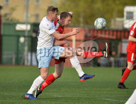 9th May 2018. Europa league play off semi final match between Cliftonville and Ballymena United at Solitude in Belfast.. Cliftonvilles Liam Bagnall  in action with Ballymena\'s  Leroy Millar. Mandatory Credit ©Inpho/Stephen Hamilton