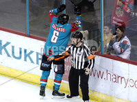 Press Eye - Belfast -  Northern Ireland - 12th January 2018 - Photo by William Cherry/Presseye. Belfast Giants Spiro Goulakos celebrates scoring against Nottingham Panthers during Friday nights Elite Ice Hockey League game at the SSE Arena, Belfast.
