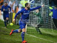 Dance Bank Premiership, Taylors Avenue, Carrickfergus.  09.01.2018. Carrick Rangers Vs Linfield FC. Linfield\'s Kurtis Bryne celebrates after scoring to make it 0-1. . Mandatory Credit©INPHO/PressEye.com/Jonathan Porter.