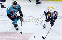 Press Eye - Belfast -  Northern Ireland - 10th October 2018 - Photo by William Cherry/Presseye. Belfast Giants\' Blair Riley with Guildford Flames\' Kevin King during Wednesday nights Elite Ice Hockey League game at the SSE Arena, Belfast.        Photo by William Cherry/Presseye.