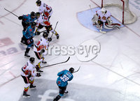 Press Eye - Belfast -  Northern Ireland - 11th January 2019 - Photo by William Cherry/Presseye. Belfast Giants Patrick Dwyer scoring against HK Gomel during Friday nights Continental Cup Final game at the SSE Area, Belfast.   Photo by William Cherry/Presseye