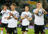 Press Eye - Belfast - Northern Ireland - 9th September 2019 . UEFA EURO Qualifier Group C at the National Stadium at Windsor Park, Belfast.  Northern Ireland Vs Germany. . Germany pictured after winning the match 0-2. .  . Photo by Jonathan Porter / Press Eye.