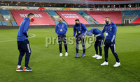 Press Eye - Belfast, Northern Ireland - 13th October 2020 - Photo by William Cherry/Presseye. Northern Ireland\'s Kyle Lafferty, Niall McGinn, Stuart Dallas, Jordan Jones and Steven Davis during Tuesday nights walk around the Ullevaal Stadium pitch at ahead of Wednesdays UEFA Nations League game against Norway in Oslo. Photo by William Cherry/Presseye