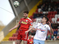 13th April 2019. Danske Bank Irish premiership. Cliftonville v Ballymena United at Solitude Belfast.. Cliftonville\'s Niall Grace in action with Ballymena\'s  Adam Leckey. Mandatory Credit -Inpho/Stephen Hamilton .