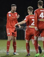 7th August 2018. Danske Bank Irish premier league match between Cliftonville and Institute at Solitude in Belfast.. Cliftonvilles Joe Gormley celebrates after heading his second goal of the night.  Mandatory Credit: Stephen Hamilton /Inpho