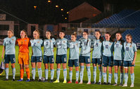 Press Eye - Belfast - Northern Ireland - 5th October 2019. European Women\'s U19 Championship 2020 Qualifying Round - Ballymena Showgrounds.  Northern Ireland Vs Moldova.. Northern Ireland line out. . Picture by Jonathan Porter/PressEye