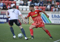 Press Eye Belfast - Northern Ireland 12th August 2017. Danske Bank Irish Premier league match between Cliftonville and Ards at Solitude Belfast.. Cliftonville\'s Joe Gormley  in action with Ards Gregg Hall.  Photo by Stephen  Hamilton / Press Eye