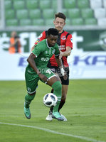 Wednesday 11th July 2018. UEFA Champions League First Qualifying Round First Leg between PFC Ludogorets Razgrad and Crusaders FC .. Ludogorets Virgil Roy Misidjan  in action with Crusaders Jordan Forsythe . Mandatory Credit: Inpho/Stephen Hamilton