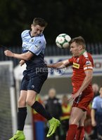7th August 2018. Danske Bank Irish premier league match between Cliftonville and Institute at Solitude in Belfast.. Cliftonvilles Chris Curran  in action with Institutes Ronan Doherty.  Mandatory Credit: Stephen Hamilton /Inpho