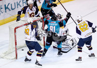 Press Eye - Belfast -  Northern Ireland - 10th October 2018 - Photo by William Cherry/Presseye. Belfast Giants\' David Rutherford celebrates Patrick Dwyer scoring against the Guildford Flames during Wednesday nights Elite Ice Hockey League game at the SSE Arena, Belfast.        Photo by William Cherry/Presseye