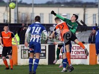 Danske Bank Premiership, Loughshore Hotel Arena, Belfast 2/12/2017. Carrick Rangers vs Coleraine. Carrick\'s Harry Doherty clears his box. Mandatory Credit ©INPHO/Freddie Parkinson