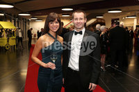 Press Eye - Belfast - Northern Ireland - 14th January 2019.. Julie McBride and Peter Stewart pictured at the  Belfast Telegraph Sports Awards 2018 in the ICC Belfast.. Photo by Kelvin Boyes / Press Eye..