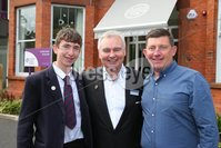 PressEye - Belfast - Northern Ireland - 12th September 2017. Pictured: Young golf star, Tom McKibbin, Northern Ireland Children\'s Hospice Ambassador with Dad Robin and Eamonn Holmes, new NI Hospice Ambassador. . Picture: Philip Magowan / PressEye