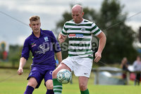 © Press Eye.com 12th August 2017. NIFL Championship 1. Lurgan Celtic v Newry City.. Celtic\'s Warner Mullen. and Newry\'s Mark Patton. during Saturday\'s match at Knockramer Park. Photo by TONY HENDRON/Presseye.com