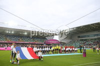 Press Eye Belfast - Northern Ireland 8th August 2017. 2017 UEFA Women\'s Under-19 Championship Final at the National Stadium at Windsor Park, Belfast.  France Vs Spain. The teams line up at the start of the match. . Picture by Jonathan Porter/PressEye.com.