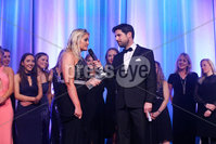 Press Eye - Belfast - Northern Ireland - 6th February 2017 -  . Belfast Telegraph Sports Awards 2016..  Award 1 - Young Team of the Year. Methodist College Belfast 1st XI  Girls Hockey Team  won the Young Team of the Year award sponsored by Subway and presented by Ireland hockey International Eugene Magee and Scott Hayes, Chairman of Subway Northern Ireland..  . Current team captain - Jodie Savage with Craig Doyle.. Photo by Kelvin Boyes / Press Eye..