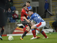 21/02/2020. Danske Bank Irish Premiership match between Linfield and Crusaders at The National Stadium.. Linfields  Jamie Mulgrew in action with Crusaders Gary Thompson . Mandatory Credit  Inpho/Stephen Hamilton