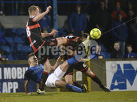 Danske Bank Premiership, Mourneview Park Lurgan  16/12/2017. Glenavon v Crusaders. Crusaders Colin Coates takes a kick to the head by Andy Mitchell. Mandatory Credit ©INPHO/Stephen Hamilton.