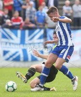 Danske Bank Premiership, Showgrounds, Coleraine 4/8/2018. Coleraine vs Warrenpoint. Coleraine\'s Stephen Lowry and Warrenpoint\'s Deane Watters. Mandatory Credit ©INPHO/Lorcan Doherty