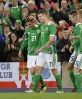 11th August 2018. International Friendly match between . Northern Ireland and Israel  at the national stadium in Belfast.. Northern Irelands Gavin Whyte celebrates after scoring with his first touch of  the ball on his debut .  Mandatory Credit: Stephen Hamilton /Presseye