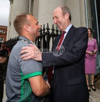 Irish Hockey Team Homecoming, Dublin 6/8/2018. Ireland coach Graham Shaw with Minister for Transport, Tourism and Sport Shane Ross T.D. Mandatory Credit  ©INPHO/Tommy Dickson