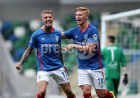 Press Eye - Belfast -  Northern Ireland - 12th August 2017 - Photo by William Cherry/Presseye. Linfield\'s Kirk Millar celebrates scoring against Carrick during Saturdays Danske Bank Premiership game at the National Stadium at Windsor Park, Belfast.