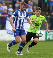 Danske Bank Premiership, Showgrounds, Coleraine 4/8/2018. Coleraine vs Warrenpoint. Coleraine\'s Stephen Lowry and Warrenpoint\'s Matthew Lynch. Mandatory Credit ©INPHO/Lorcan Doherty