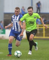 Danske Bank Premiership, Showgrounds, Coleraine 4/8/2018. Coleraine vs Warrenpoint. Warrenpoint\'s Francis McCafferty and Coleraine\'s Ian Parkhill. Mandatory Credit ©INPHO/Lorcan Doherty
