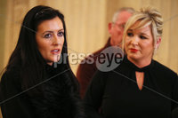 Press Eye - Belfast - Northern Ireland - 8th January 2018. Sinn Fein northern leader Michelle o\'Neill and some of her party colleagues speak to the media at the Great Hall in Stormont, east Belfast, ahead of their meeting with the EU\'s Brexit chief negotiator Michel Barnier in Brussels tomorrow.. Mid and East Antrim Sinn Fein Cllr Patrice Hardy(left) and Michelle O\'Neill. . Picture by Jonathan Porter/PressEye