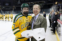 Press Eye - Belfast -  Northern Ireland - 05th January 2019 - Photo by William Cherry/Presseye. Clarkson University\'s Player of the Game, Elizabeth Giguere, with ECAC Hockey Commissioner, Steve Hagwell during Saturdays inaugural Womens Friendship Series game at the SSE Arena, Belfast.   Photo by William Cherry/Presseye