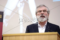 Press Eye - Belfast - Northern Ireland - 10th February 2019 - . Gerry Adams pictured at the event at St Marys University College Belfast entitled Pat Finucane 30th Anniversary, A Community Reflects. The event was organised by Feile an Phobail.. Photo by Kelvin Boyes / Press Eye