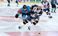 Press Eye - Belfast -  Northern Ireland - 09th August 2017 - Belfast Giants Darcy Murphy with Guilford Flames Tomas Nechala during Saturday nights Elite Ice Hockey League game at the SSE Arena, Belfast.  Photo by Presseye